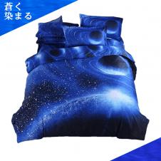 【蒼く染まる】COSMIC TREE 宇宙に包まれて眠る ベット シーツ 布団カバー 枕カバー セット ダブルサイズ